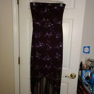 Dark Purple Strapless Dress